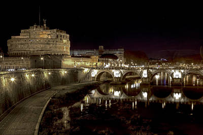 Night Angel Photograph - Rome Ponte San Angelo by Joana Kruse