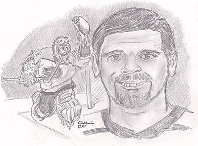 Drawing - Ron Hextall by Chris  DelVecchio