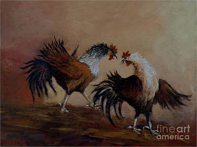 Rooster Fight Art Print