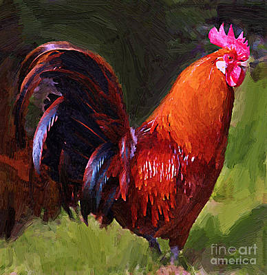 Mixed Media - Rooster by Jerry L Barrett