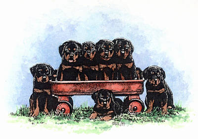 Rotty Painting - Rottie Pups In A Wagon by Patrice Clarkson
