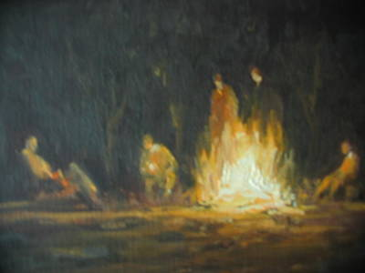 Painting - Round' The Fire by Berto Ortega