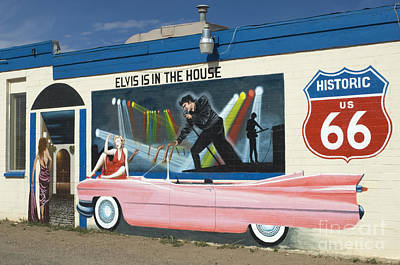Pink Hot Rod Photograph - Route 66 Elvis by Bob Christopher
