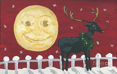 Moonface Painting - Rudolph by Sylvia Pimental