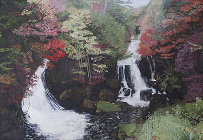 Painting - Ryuzu Waterfall by Masami Iida