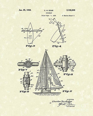 Sailboats Drawing - Sailboat 1938 Patent Art by Prior Art Design