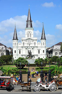 Photograph - Saint Louis Cathedral by Bourbon  Street