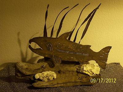 Salmon On Driftwood Art Print by JP Giarde