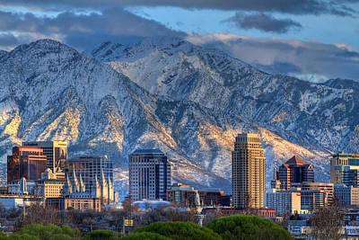 Snowy Night Photograph - Salt Lake City Utah Usa by Utah Images