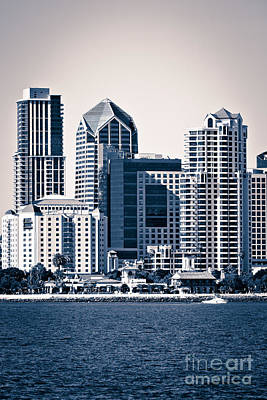 San Diego Skyline Art Print by Paul Velgos