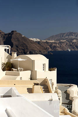 Santorini View Art Print by Leslie Leda