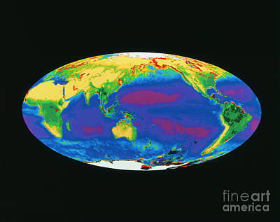 Satellite Image Of The Earths Biosphere Print by Dr. Gene Feldman, NASA Goddard Space Flight Center
