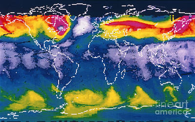 Satellite Map Of Global Ozone Print by NASA / Goddard Laboratory for Atmospheres