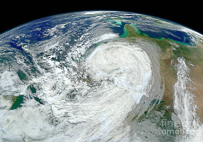Satellite View Of Hurricane Sandy Art Print by Stocktrek Images