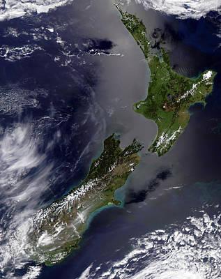 Landmass Photograph - Satellite View Of New Zealand by Stocktrek Images