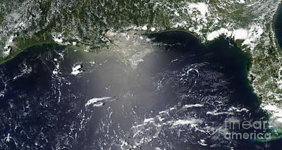 Satellite View Of Oil Leaking Art Print