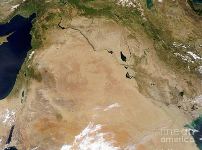 Satellite View Of The Middle East Art Print by Stocktrek Images