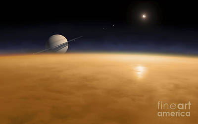 Saturn Above The Thick Atmosphere Art Print by Fahad Sulehria