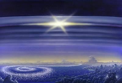 Saturn's Rings, Artwork Art Print by Richard Bizley