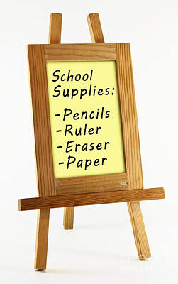 Whiteboard Photograph - School Supplies by Blink Images