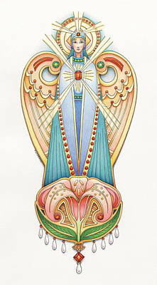 Jesus Drawing - Scroll Angels - Lillium by Amy S Turner