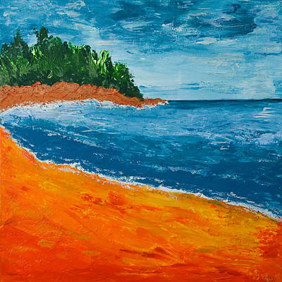 Art Print featuring the painting Seascape by Judi Goodwin