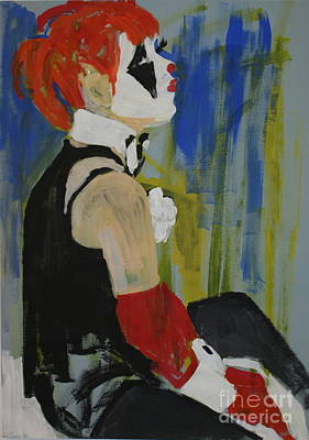 Seated Lady Clown Art Print by Joanne Claxton