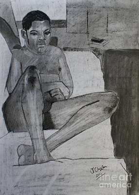 Drawing - Seated Male Nude by Joanne Claxton