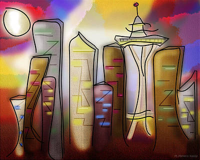 Digital Art - Seattle by Melisa Meyers