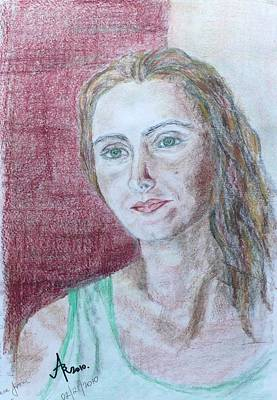 Art Print featuring the drawing Self Portrait by Anna Ruzsan