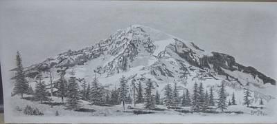 Snow Scene Landscape Drawing - Serenity by Dino Baiza