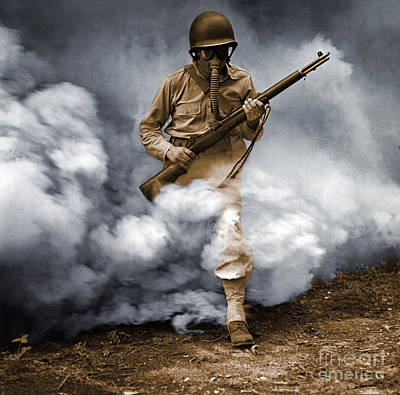 Photograph - Sergeant In Gas Mask by Photo Researchers