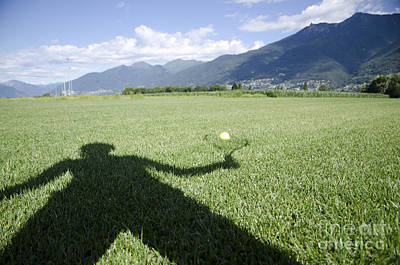Shadow Playing Tennis Art Print