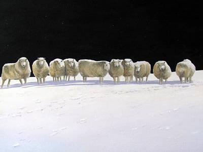 Painting - Sheep At Night by Milan Melicharek