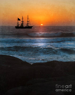 Ship Off Rugged Coast Art Print by Jill Battaglia