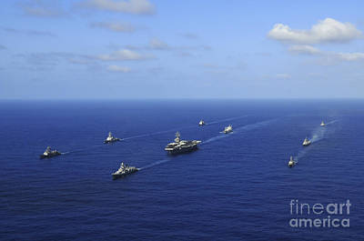 Ships From The Ronald Reagan Carrier Print by Stocktrek Images