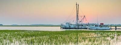 Shrimp Boat Photograph - Shrimp Boat Sunset  by Dustin K Ryan