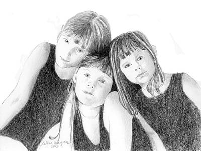 Pencil Drawing - Sisters by Arline Wagner