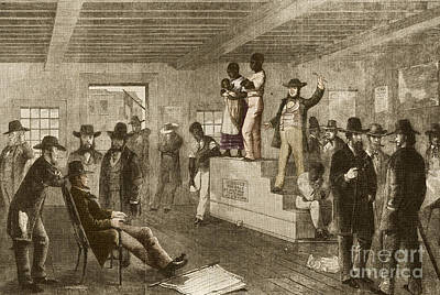 Slave Auction, 1861 Art Print by Photo Researchers