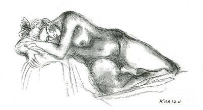 Drawing - Sleeping Nude  by Karin Zukowski