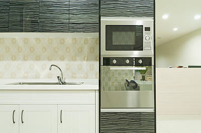 Small Modern Kitchen With Fitted Units Print by Lawren Lu