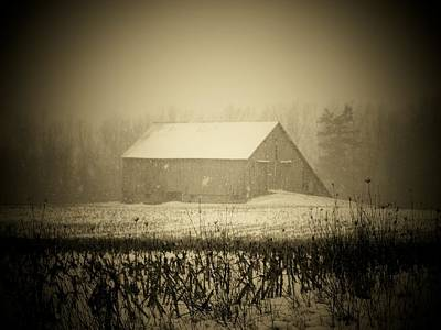 Indiana Landscapes Photograph - Snow Barn by Michael L Kimble