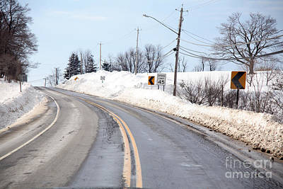 Snow By The Roadside Print by Ted Kinsman