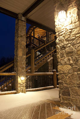 Snow Covered Countryside Hotel At Night Art Print by Will and Deni McIntyre