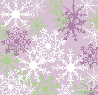 Drawing - Snowflakes by HD Connelly