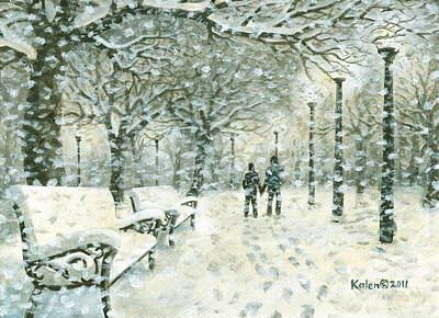 Snowy Night Painting - Snowing In The Park by Kalen Malueg