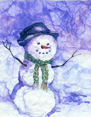 Snowman Wall Art - Painting - Snowman by Peggy Wilson