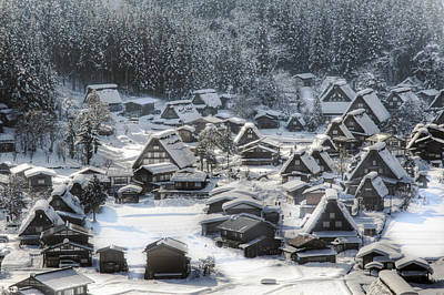 Snowy Village Art Print by Kean Poh Chua