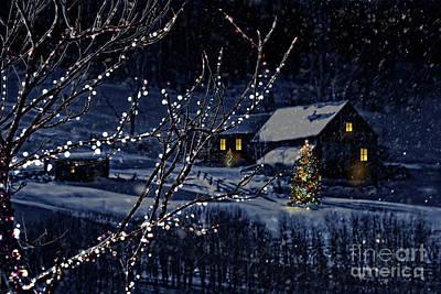 Snowy Winter Scene Of A Cabin In Distance  Art Print by Sandra Cunningham