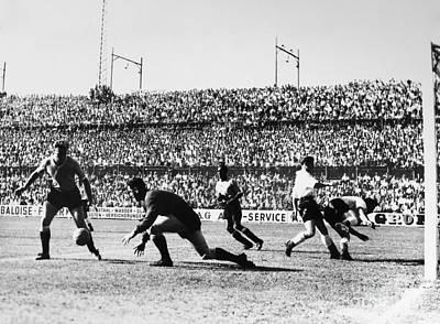 Goalkeeper Photograph - Soccer Match, 1930s by Granger